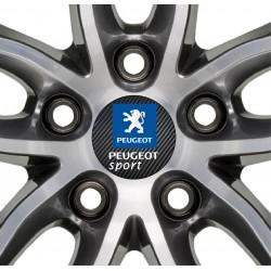 4 Stickers autocollant moyeu de jante Peugeot Sport