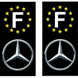 2 Stickers autocollant plaque d immatriculation Mercedes