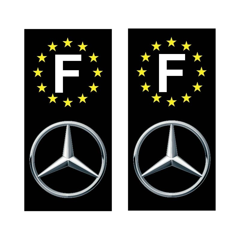 2 Stickers autocollant plaque d immatriculation Mercedes