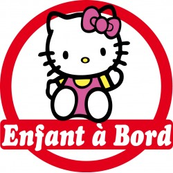 Stickers autocollants enfant à bord Hello Kitty