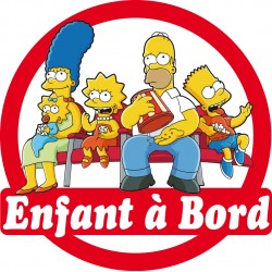Stickers autocollants enfant à bord Famille Simpson