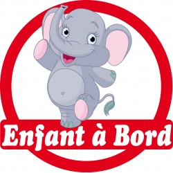 Stickers autocollants enfant a bord Eléphanteau