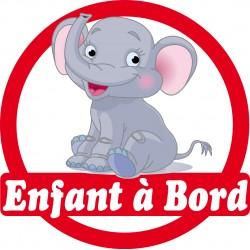 Stickers autocollants enfant a bord Eléphant