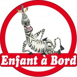 Stickers autocollants enfant a bord Zebre