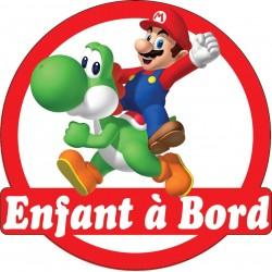 Stickers autocollants enfant a bord Mario Luigi