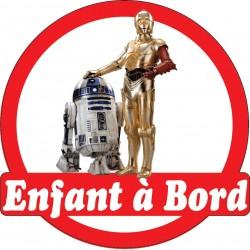 Stickers autocollants enfant a bord R2D2 C-3PO