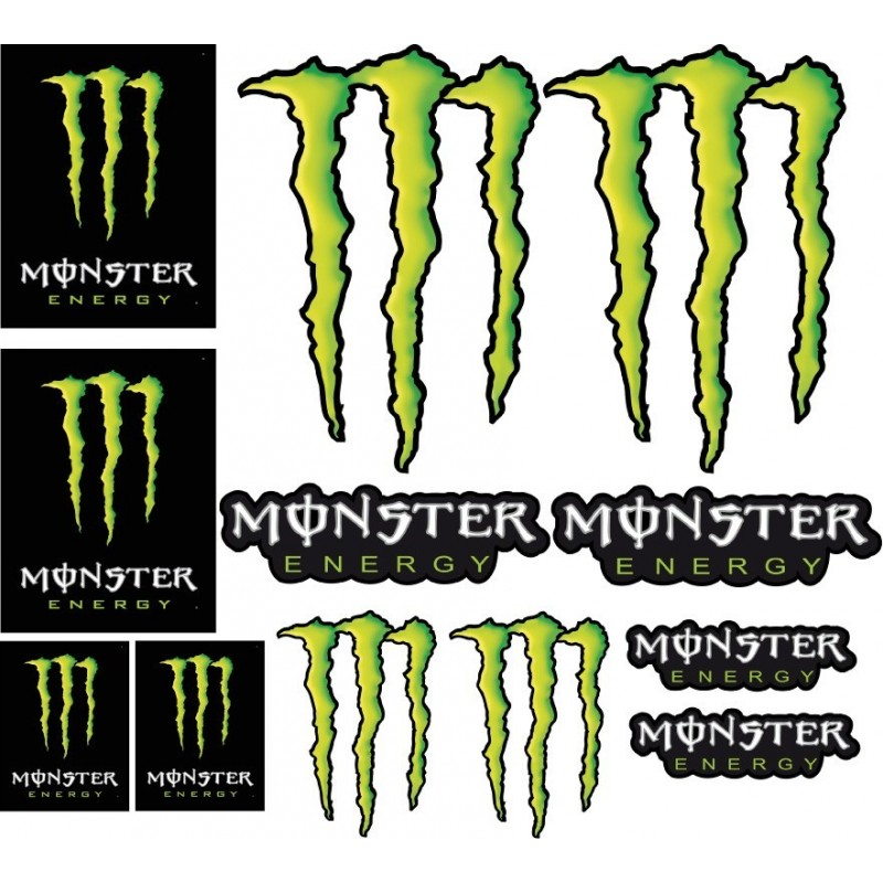 12 Stickers autocollants Moto Monster Energy