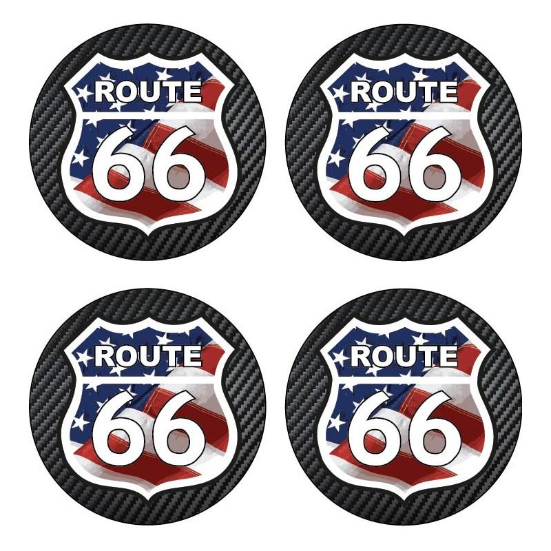 4 Stickers autocollants cache moyeu de jante Route 66
