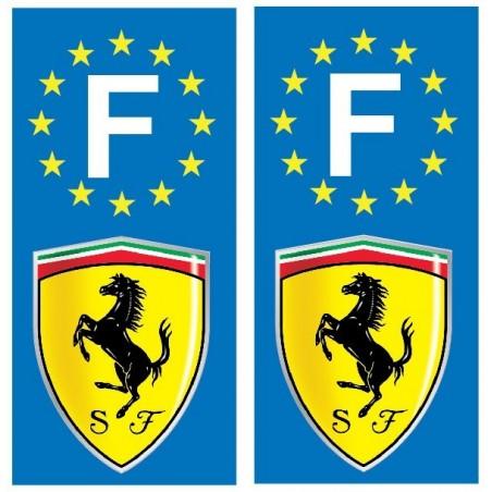 2 Stickers autocollant plaque d immatriculation Ferrari