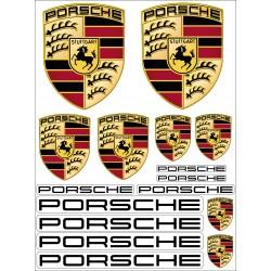 Planche de 16 Stickers Autocollants auto Porsche