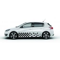 Stickers autocollants bas de caisse Peugeot damier