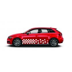 Stickers autocollants bas de caisse Audi damier