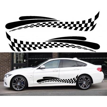 Stickers autocollants bas de caisse BMW damier Style