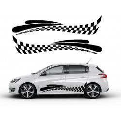 Stickers autocollants bas de caisse Peugeot damier Style