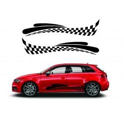 Stickers autocollants bas de caisse Audi damier Style