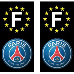 2 Stickers autocollants plaque d'immatriculation PSG