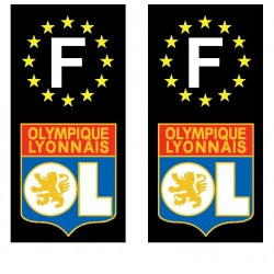 2 Stickers autocollants plaque d'immatriculation OL