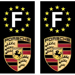 2 Stickers autocollants plaque d'immatriculation Porsche