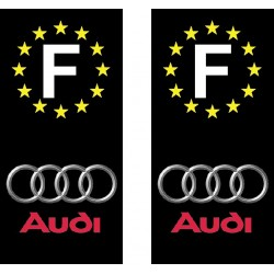 2 Stickers autocollant plaque d immatriculation Audi
