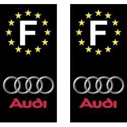 2 Stickers autocollant plaque d immatriculation Audi