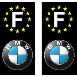2 Stickers autocollant plaque d immatriculation BMW