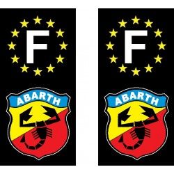 2 Stickers autocollant plaque d immatriculation Abarth