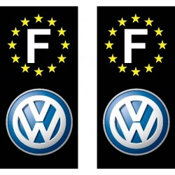 2 Stickers autocollant plaque d immatriculation Volkswagen