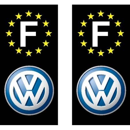2 Stickers autocollant plaque d immatriculation Volkswagen