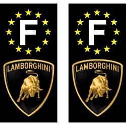 2 Stickers autocollant plaque d immatriculation Lamborghini