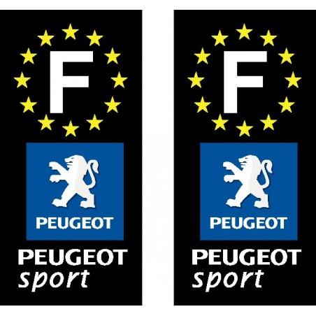 2 Stickers autocollant plaque d immatriculation Peugeot Sport