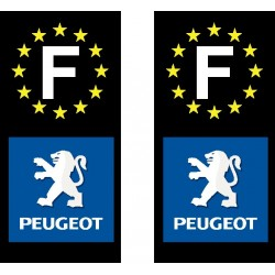 2 Stickers autocollant plaque d immatriculation Peugeot