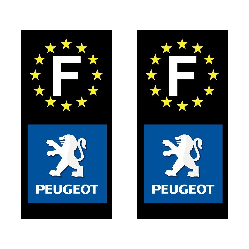 2 stickers autocollant plaque d immatriculation peugeot. Black Bedroom Furniture Sets. Home Design Ideas
