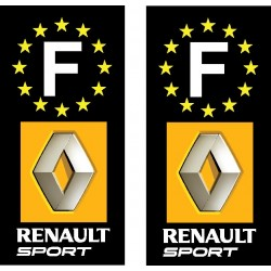 2 Stickers autocollant plaque d immatriculation Renault Sport