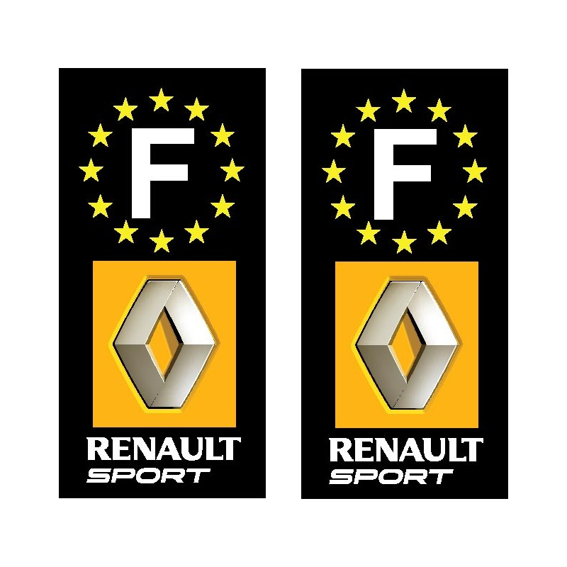 2 stickers autocollant plaque d immatriculation renault sport. Black Bedroom Furniture Sets. Home Design Ideas