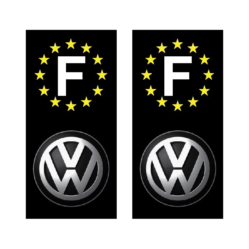 2 stickers autocollant plaque d immatriculation volkswagen. Black Bedroom Furniture Sets. Home Design Ideas