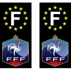 2 Stickers autocollants plaque d'immatriculation Foot fédération française de football