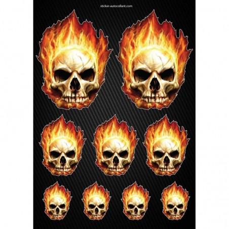 Stickers autocollants Moto Skull Flames Format A4