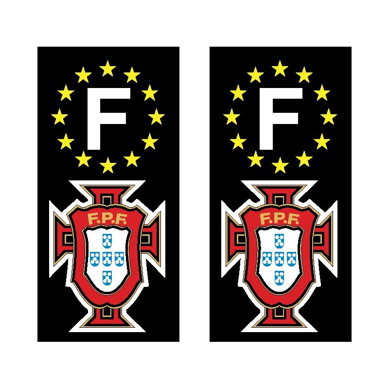 2 Stickers autocollant plaque d immatriculation Foot Portugal