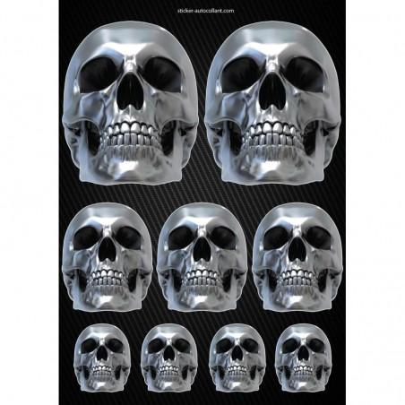 Stickers autocollants Moto Skull Format A4