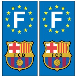 2 Stickers autocollants plaque d'immatriculation Fc Barcelone