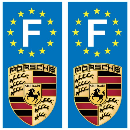 2 Stickers autocollant plaque d immatriculation Porsche