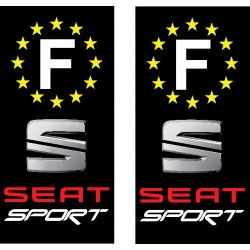 2 Stickers autocollant plaque d immatriculation Seat Sport