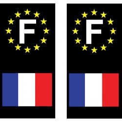 2 Stickers autocollant plaque d immatriculation France