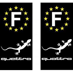 Stickers autocollant plaque d immatriculation Audi Quattro Gecko