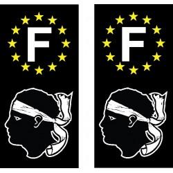 2 Stickers autocollant plaque d immatriculation Corse