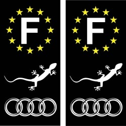Stickers autocollant plaque d immatriculation Audi Gecko