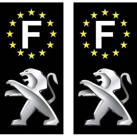 2 Stickers autocollant plaque d immatriculation Peugeot