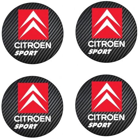 4 Stickers autocollant moyeu de jante Citroen Sport