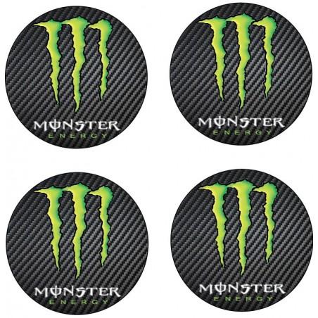 4 Stickers autocollant moyeu de jante Monster